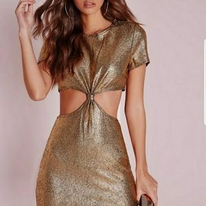 Missguided gold cutout dress